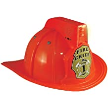 Jr. Fire Fighter Red Helmet w/Lights & Siren Costume Hat Child