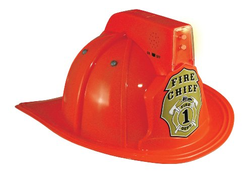 Jr. Fire Fighter Red Helmet w/Lights & Siren Costume Hat (Kids Fire Helmet)