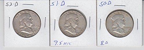 Dollar Half 1951 Franklin - 1950 D 1951 D 1952 D Franklin Silver Half Dollar (3) Coins Very Fine