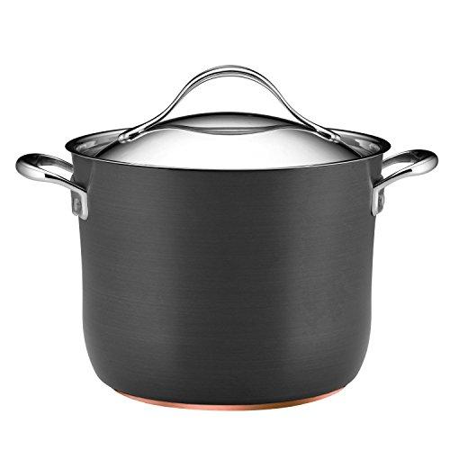 Anolon Nouvelle Copper Hard-Anodized Nonstick Covered Stockpot, 8-Quart, Dark Gray Anolon Stainless Steel Stock Pot