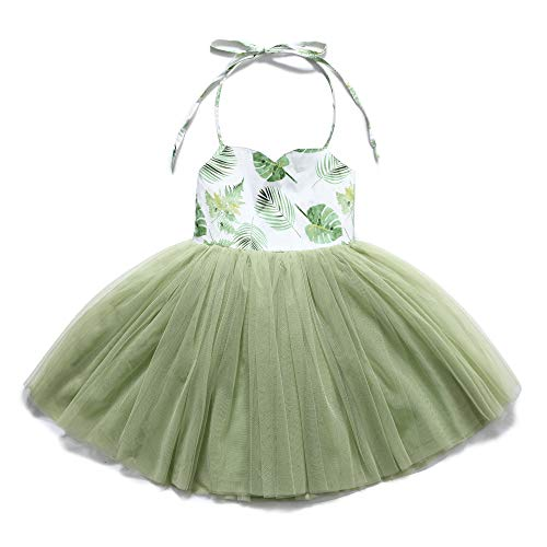 Flofallzique Special Occasion Girls Dress Pink Tutu Wedding Christening Birthday Baby Toddler Clothes (8, Vintage Green)