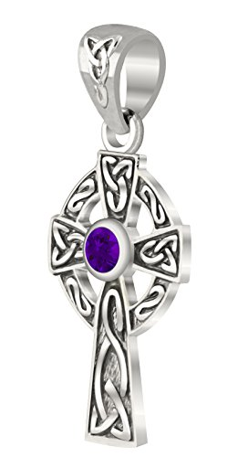 US Jewels And Gems New Small 0.925 Sterling Silver Irish Celtic Knot Cross Genuine Amethyst Pendant