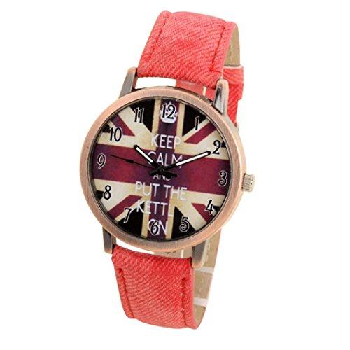 Auwer Denim Watch, Unisex Casual Quartz Analog Sports Denim Fabric UK Flag Wrist Watch (B) ()