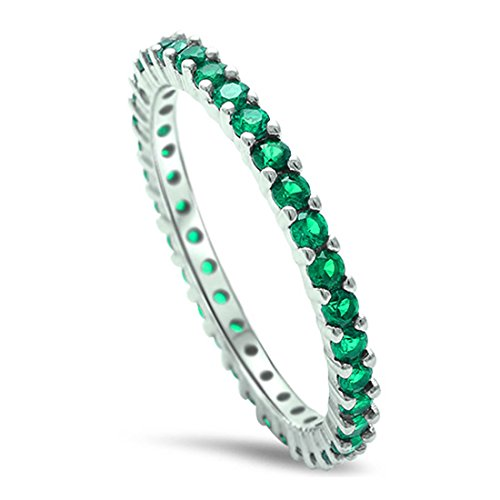 2MM Stackable Full Eternity Engagement Band Ring Green Simulated Emerald Round 925 Sterling Silver