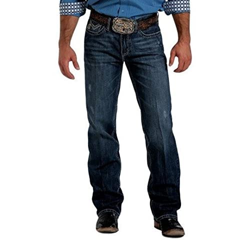 Cinch Men's Grant Mid-Rise Relaxed Fit Dark Stonewash Bootcut ...
