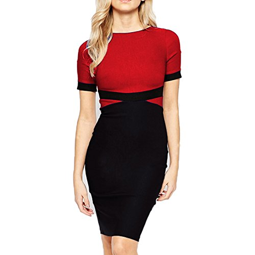 WOOSEA Women's Elegant Colorblock Cap Sleeve Cocktail Party Casual Pencil Dress (XX-Large , Red)