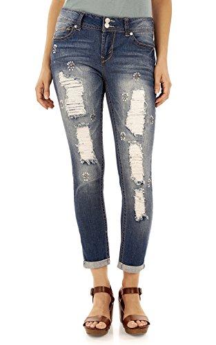 WallFlower Women's Juniors Luscious Curvy Embellished Ankle Jeans In Lauren, (Lauren Three Button Jeans)