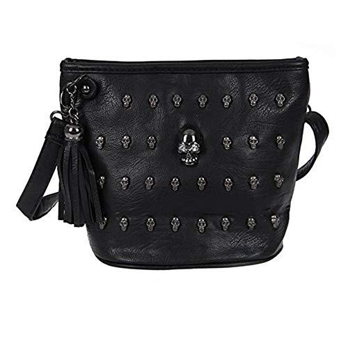 Handbag Rivet PU Handbag Handbag PU Black Leather Skull Lady 5xqRvUX