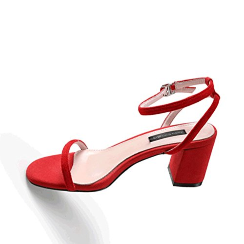 Dream Rough-Heel Sandals Elegant Open-Toe Work Shoes Women's High Heels Red