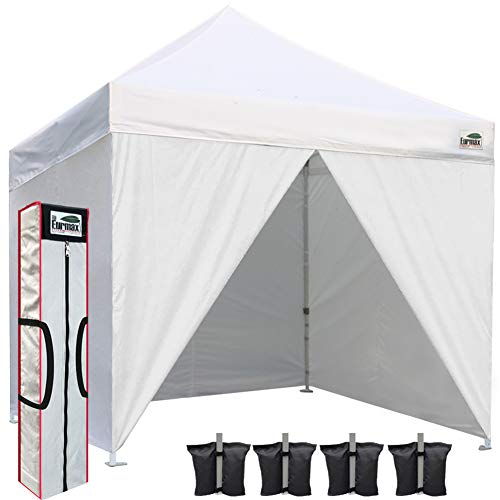 Eurmax 10 x 10 Pop up Canopy Commercial Tent Outdoor Instant Canopies Party Shelter with 4 Zippered Sidewalls and Carry Bag Bonus Canopy Sand Bags(White) (Best Canopy Tent For Craft Shows)