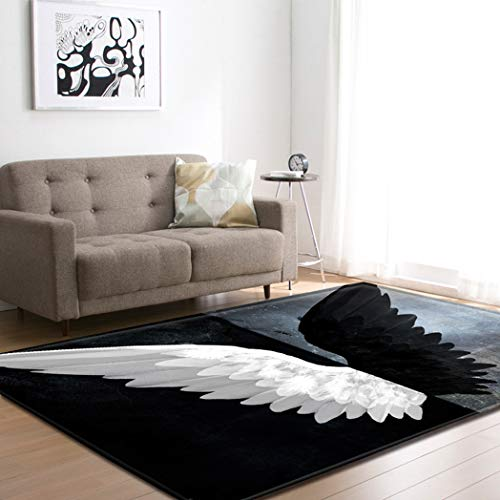Large Area Rugs for Living Room Dining Room Bedroom, Non Skid Indoor Floor Mats Carpets Home Decor, Black and White Angel Wings Modern Print -