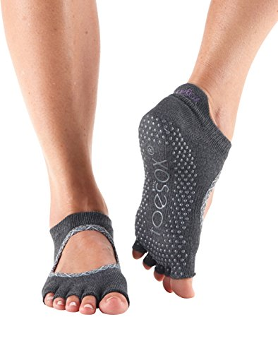 ToeSox Women's Bellarina Half Toe Grip Non-Slip Socks (Carbon Batik) Small
