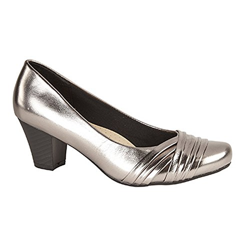 Comfort Plus Womens/Ladies Wide Fit Folded Vamp Court Shoes Pewter 0vDP200Cx
