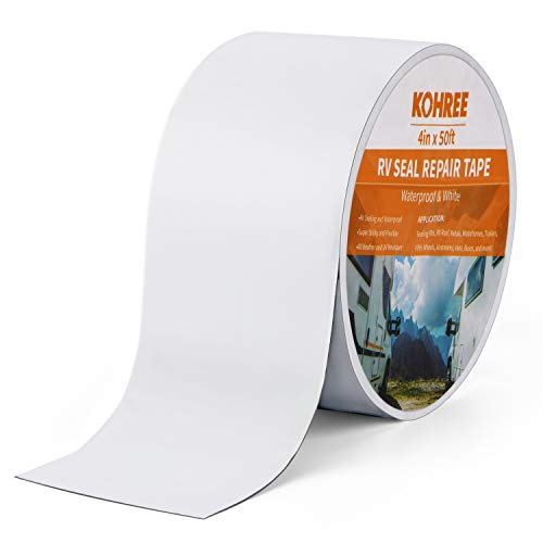 (Kohree RV Sealant Tape, 4 Inch x 50 Foot RV White Roof Seal Tape UV & Weatherproof Sealant Roofing Tape for RV Repair, Window, Boat Sealing, Truck Stop Camper Roof Leaks)