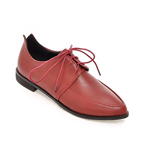 AllhqFashion Womens Pointed Closed Toe Lace Up PU Solid Low Heels Pumps-Shoes Red 5sYYUA1lL3