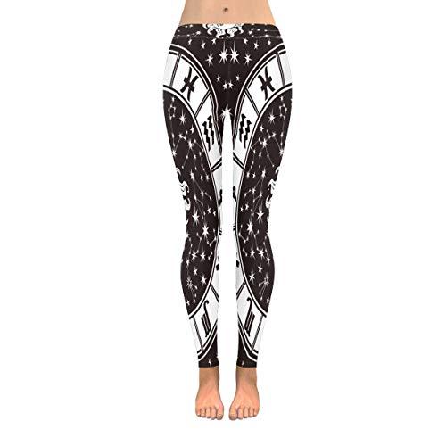 INTERESTPRINT Women's Full Length Leggings Horoscope Circle Zodiac Signs Zodiac Sun Moon Running Workout Yoga Pants XL