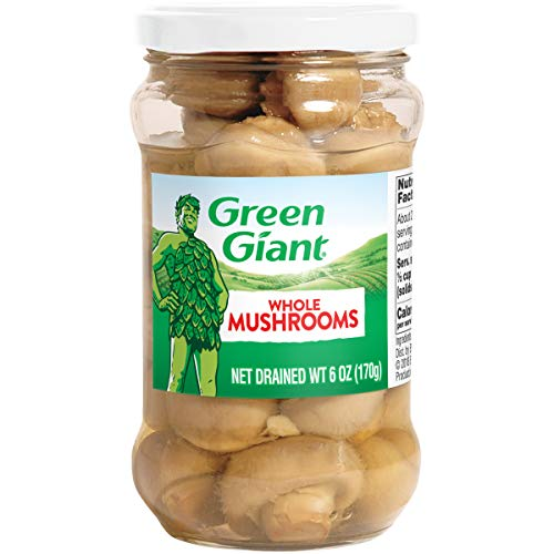 Green Giant Whole Mushrooms, Glass Jar, 6 Ounce (Pack of 12)