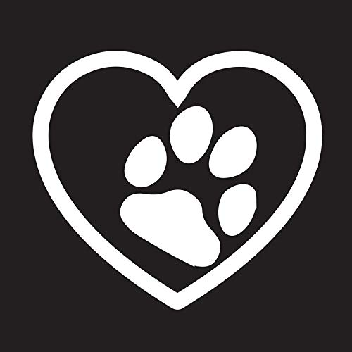 Creative Concepts Ideas Love Dog Paw Print Heart Pets CCI Decal Vinyl Sticker|Cars Trucks Vans Walls Laptop|White|5.4 x 4.75 (Best Cci Dog Foods)