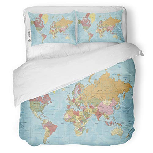 (SanChic Duvet Cover Set Detailed Political World Map in Mercator Projection Clearly Decorative Bedding Set with 2 Pillow Cases Full/Queen Size)
