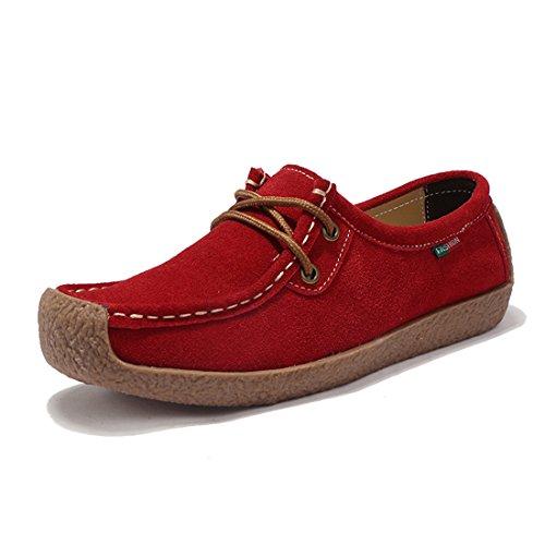 Chaussures Casuel Conduite Suède Confort Femmes De Loafers Mocassins Z Rouge suo x6qAxY