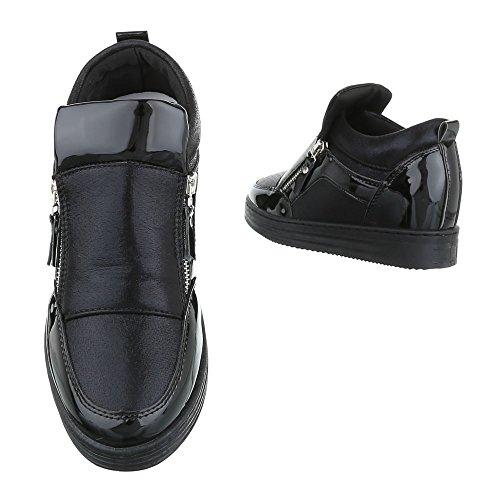 Ital-Design High-Top Sneaker Damenschuhe High-Top Moderne Reißverschluss Freizeitschuhe Schwarz