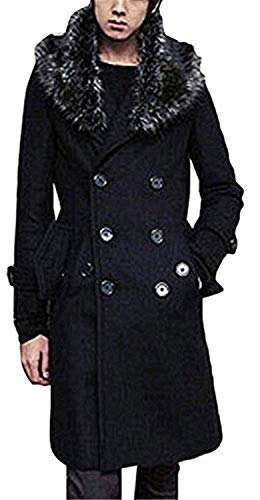 Men's Wool Blend Winter Premium Long Coat Rain Jacket Windbreakers Fashion,Championship,Black