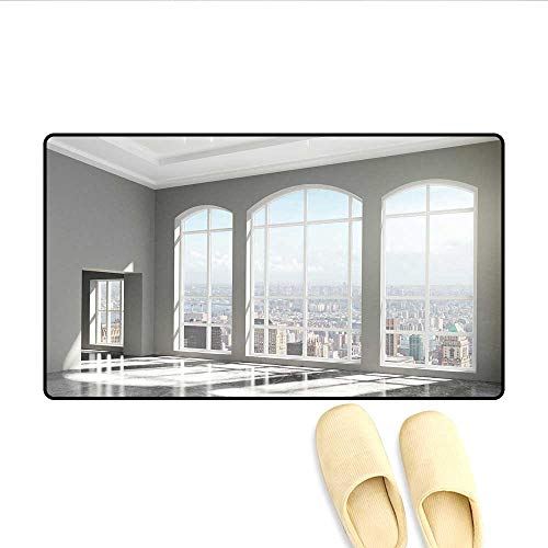 (Bath Mat Fancy House in Urban City Scenery with Country Home View from Windows Print Doormats for Inside Non Slip Backing White and Eggshell)