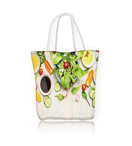 Canvas Beach Bags fresh vege salad with various dressing on light rustic top view border healthy Totes for Women Zippered Beach Shoulder Bag W12xH14xD4.7 ()