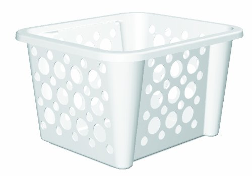 United Solutions-Organize Your Home CR0028 White Plastic Stacking/Nesting Storage Crate - Large Plastic Organizing Storage Box in White