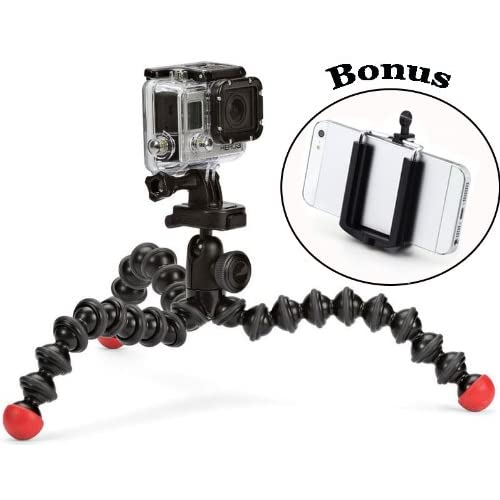 The Action Tripod with GoPro Mount for The HERO4 Session, HD Hero4, HD Hero3, HD Helmet HERO, HD Motorsports HERO, HD Surf HERO, HD Hero Naked and a Bonus Universal Smartphone Tripod Mount Adapter