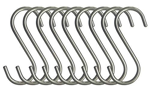 10 ganchos de acero inoxidable pulido en forma de S para colgar sartenes, macetas, plantas, toallas, ganchos de cocina.: Amazon.es: Amazon.es
