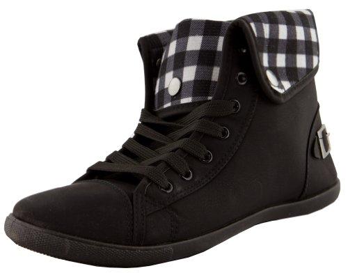 Halbschuhe Sneaker Damen Turnschuhe Schnalle Schuhe Damenturnschuhe mit Schwarz Schnürschuhe 7qpwPF