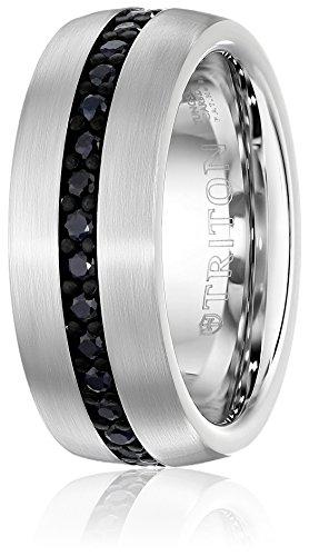 Triton-Mens-Tungsten-8mm-Black-Sapphire-Wedding-Band-1cttw
