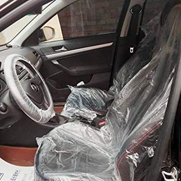 Uniqus 100PCS Car Auto Universal PE Disposable Transparent Seat Shift Knob Steering Wheel Cover Kit