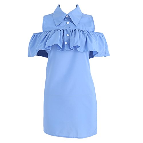 Woolf's House Fashion Women Girls Summer Shirt Dress Off Shoulder Dress Beach Casual Butterfly Sleeve Straight Ruffle Dress (12-14, Blue)