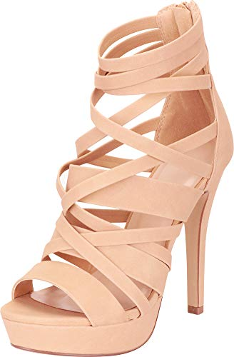 Cambridge Select Women's Open Toe Crisscross Strappy Platform Stiletto High Heel Sandal,9 B(M) US,Natural NBPU