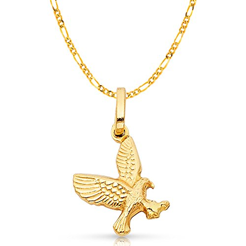 Gold Flying Eagle Charm - Ioka Jewelry - 14K Yellow Gold Flying Eagle Charm Pendant with 2mm Figaro 3+1 Chain Necklace - 24