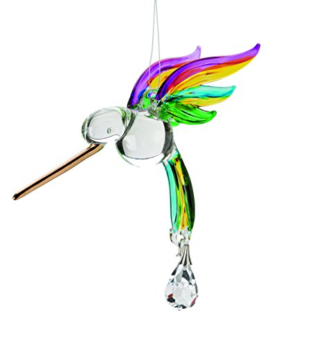 (Wind & Weather Glass Hummingbird Suncatcher, in)