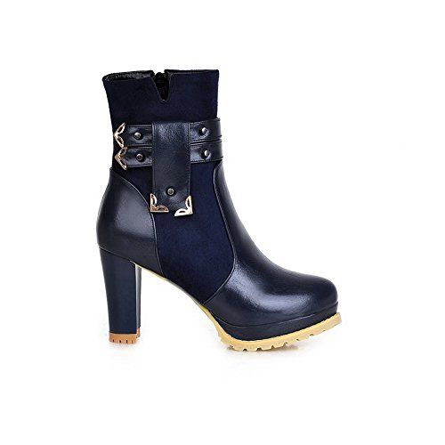 Heels Zip Toe Solid Womens Boots Round Blue Kitten 1TO9 Urethane cgREWFn