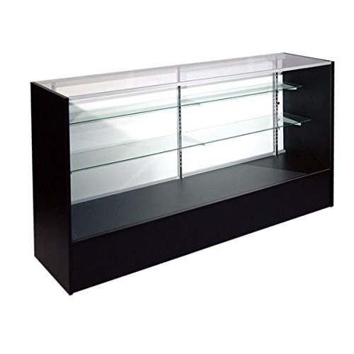 Retail Glass Display Case, Full Vision Showcase Black, 70