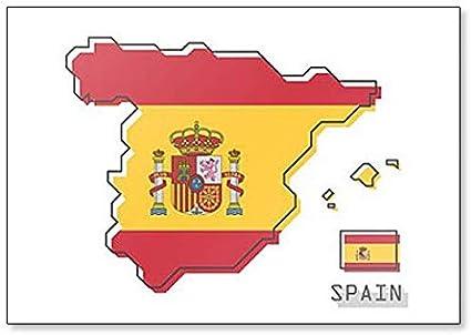 Imán para nevera con diseño de mapa y bandera de España: Amazon.es ...