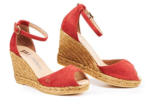 Made Garnet Open Toe 3 Espadrilles Comfort Elegant Viscata Spain strap inch Heel In Ankle Soft Caprubi Suede With q6ww8CT