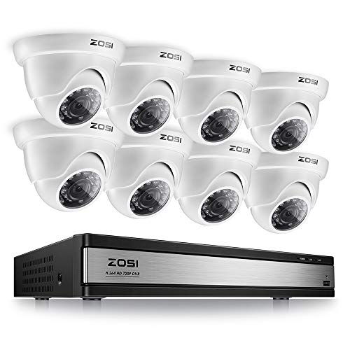 16 Channel Pentaplex Dvr - ZOSI 16 Channel 1080N 720P DVR IR Cut Home Security Camera System 8 PCS Outdoor Indoor 3.6mm Dome Camera Easy Remote Access