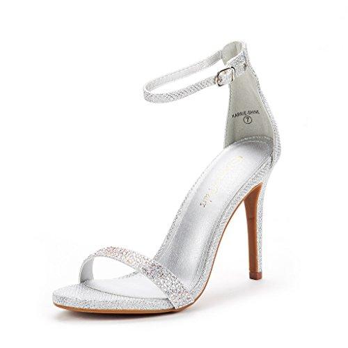 Karrie-Shine Silver Glitter High Stiletto Pump Heel Sandals Size 9.5 B(M) US ()