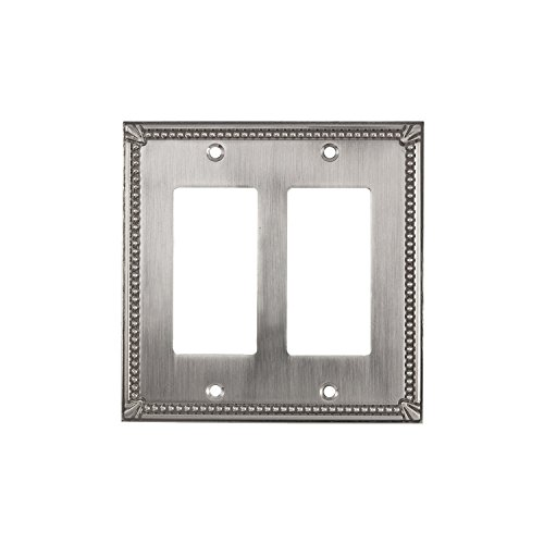 Brushed Nickel Double Rocker - Rok Hardware Wall Light Decora Switch Plate Rocker Toggle GFCI Cover Traditional Brushed Nickel 2 Gang