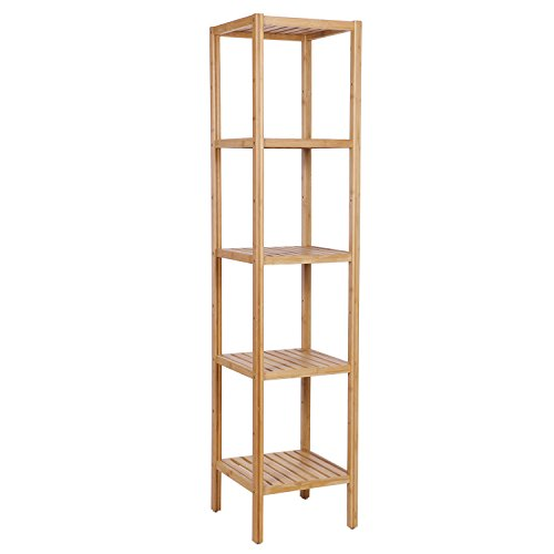 hroom Shelf,5 Tier DIY Utility Storage Organizer,Tower Free Standing Shower Shelving Unit/Rack,Bamboo Corner Bathroom Rack for Bathroom Livingroom Balcony KZW05Y ()