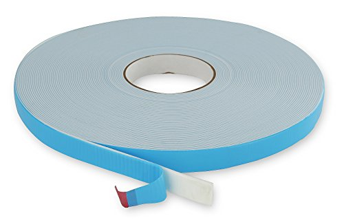 1/16' White Double Sided Acrylic Adhesive Polyethylene Foam Tape With Blue Poly Liner (1' X 36 Yards)