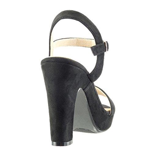 Sexy Sandali Blocco Scarpe Zeppe Tacco Fibbia Tacco Decollete a Moda Donna Tanga 11 Nero Alto con Angkorly cm 04OqEWE