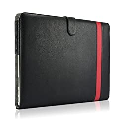 Osaka ® Aviator series Leather case cover (black & red / PU) for Apple new Macbook Pro 15.4 with Retina Screen Version plus KlOUD Cleaning cloth