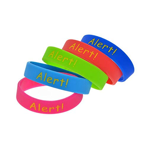 - Dixinla Sports Wristbands Fashion Bracelet Silicone Hand Ring Egg Allergy Warning Language Child Hand Ring concave Hand Ring Set of 5 Pieces